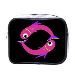 Magenta Fishes Mini Toiletries Bags by Valentinaart