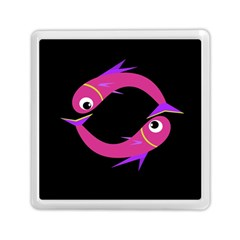 Magenta Fishes Memory Card Reader (square)  by Valentinaart