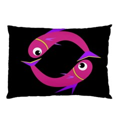 Magenta Fishes Pillow Case (two Sides) by Valentinaart