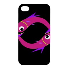 Magenta Fishes Apple Iphone 4/4s Hardshell Case by Valentinaart