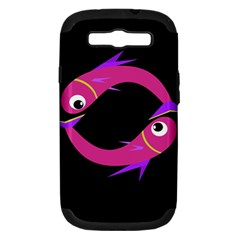 Magenta Fishes Samsung Galaxy S Iii Hardshell Case (pc+silicone) by Valentinaart