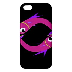 Magenta Fishes Apple Iphone 5 Premium Hardshell Case by Valentinaart