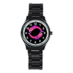 Magenta Fishes Stainless Steel Round Watch by Valentinaart