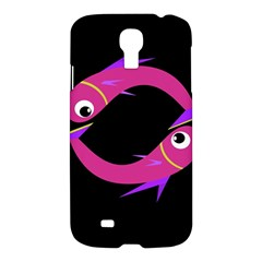 Magenta Fishes Samsung Galaxy S4 I9500/i9505 Hardshell Case by Valentinaart