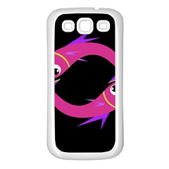 Magenta Fishes Samsung Galaxy S3 Back Case (white) by Valentinaart