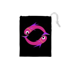 Magenta Fishes Drawstring Pouches (small)  by Valentinaart