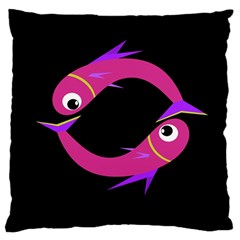 Magenta Fishes Large Flano Cushion Case (two Sides) by Valentinaart