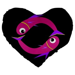 Magenta Fishes Large 19  Premium Flano Heart Shape Cushions by Valentinaart