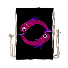 Magenta Fishes Drawstring Bag (small) by Valentinaart