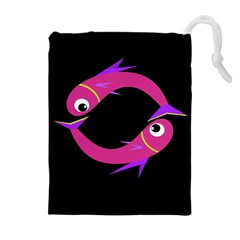 Magenta Fishes Drawstring Pouches (extra Large) by Valentinaart