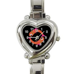 Orange Fishes Heart Italian Charm Watch by Valentinaart