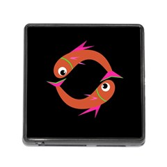 Orange Fishes Memory Card Reader (square) by Valentinaart