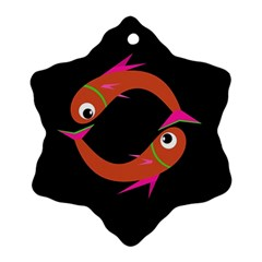 Orange Fishes Snowflake Ornament (2 Side) by Valentinaart