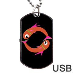 Orange Fishes Dog Tag Usb Flash (two Sides)  by Valentinaart
