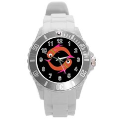 Orange Fishes Round Plastic Sport Watch (l) by Valentinaart