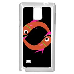 Orange Fishes Samsung Galaxy Note 4 Case (white) by Valentinaart