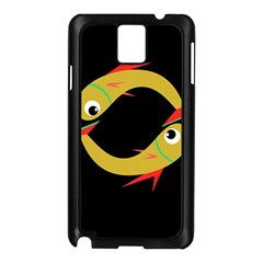 Yellow Fishes Samsung Galaxy Note 3 N9005 Case (black) by Valentinaart