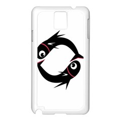 Black Fishes Samsung Galaxy Note 3 N9005 Case (white) by Valentinaart