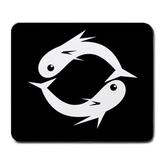 White Fishes Large Mousepads