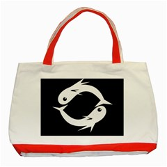 White Fishes Classic Tote Bag (red) by Valentinaart