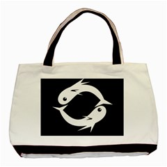 White Fishes Basic Tote Bag (two Sides) by Valentinaart