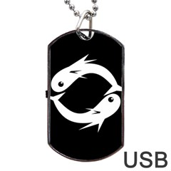 White Fishes Dog Tag Usb Flash (two Sides)  by Valentinaart