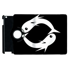 White Fishes Apple Ipad 3/4 Flip 360 Case by Valentinaart