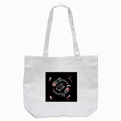 Abstract Fishes Tote Bag (white) by Valentinaart