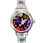Colorful abstraction by Moma Round Italian Charm Watch Front