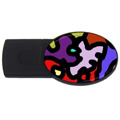Colorful Abstraction By Moma Usb Flash Drive Oval (4 Gb)  by Valentinaart