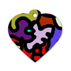 Colorful Abstraction By Moma Dog Tag Heart (one Side) by Valentinaart