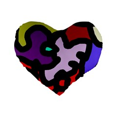 Colorful Abstraction By Moma Standard 16  Premium Heart Shape Cushions by Valentinaart