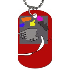 Red Abstraction By Moma Dog Tag (one Side) by Valentinaart