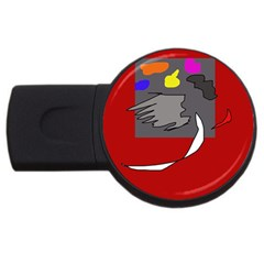 Red Abstraction By Moma Usb Flash Drive Round (2 Gb)  by Valentinaart