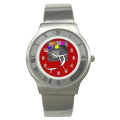 Red Abstraction By Moma Stainless Steel Watch by Valentinaart