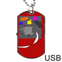 Red Abstraction By Moma Dog Tag Usb Flash (one Side) by Valentinaart
