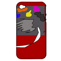 Red Abstraction By Moma Apple Iphone 4/4s Hardshell Case (pc+silicone) by Valentinaart