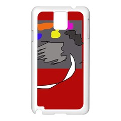 Red Abstraction By Moma Samsung Galaxy Note 3 N9005 Case (white) by Valentinaart
