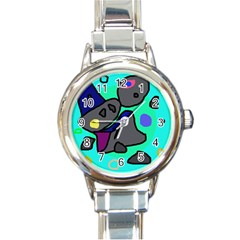 Blue Comic Abstract Round Italian Charm Watch by Valentinaart