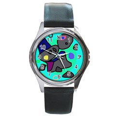 Blue Comic Abstract Round Metal Watch by Valentinaart