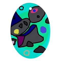 Blue Comic Abstract Ornament (oval)