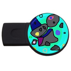 Blue Comic Abstract Usb Flash Drive Round (4 Gb)  by Valentinaart