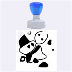 Blue Comic Abstract Rubber Round Stamps (large)