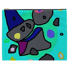 Blue Comic Abstract Cosmetic Bag (xxxl)  by Valentinaart