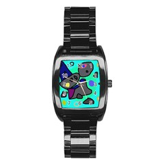 Blue Comic Abstract Stainless Steel Barrel Watch by Valentinaart