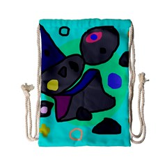 Blue Comic Abstract Drawstring Bag (small) by Valentinaart