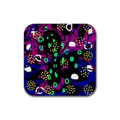 Abstract Colorful Chaos Rubber Coaster (square)  by Valentinaart
