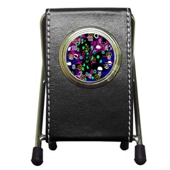 Abstract Colorful Chaos Pen Holder Desk Clocks