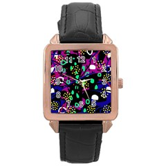 Abstract Colorful Chaos Rose Gold Leather Watch  by Valentinaart