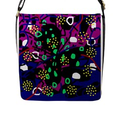Abstract Colorful Chaos Flap Messenger Bag (l)  by Valentinaart